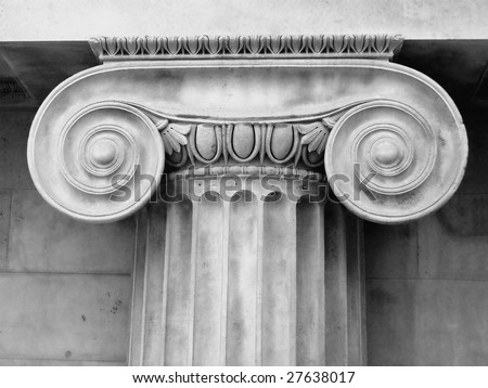 Ancient greece ionic capital in black and white