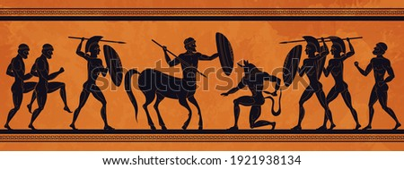 Ancient Greece scene. Historic mythology silhouettes with gods and centaurs, figures and pattern for ancient amphora.  mythological image art ancients amphoras ornaments