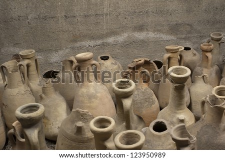 ancient greek amphorae, roma, italy
