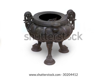 Ancient Greek bronze cauldron made for Scythian.  About 4th century B.C. Path on the white background.