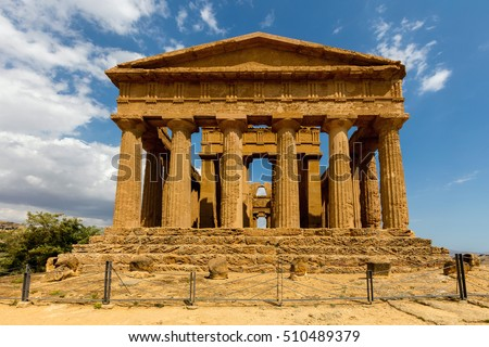 Ancient Greek (c.430 BC) Temple of Concordia in the Valley of the Temples, Agrigento is the largest and best-preserved Doric temple in Sicily and one of the best-preserved Greek temples in the world. #510489379