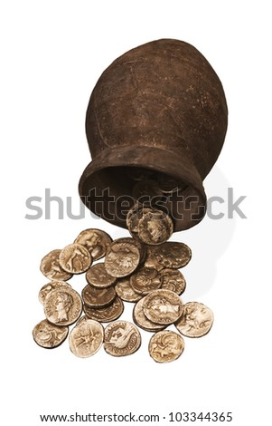 Ancient greek coins found in the ruins of Ampurias, Spain. Isolate don white.