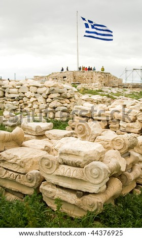 Ancient Greek column capitals at the Akropolis hill in Athens, Greece