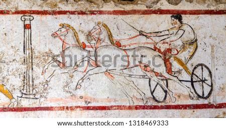 Ancient Greek Fresco in Paestum, Italy.