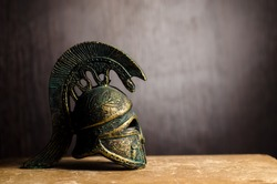 Ancient Greek Helmet Spartan Style Isolated on black