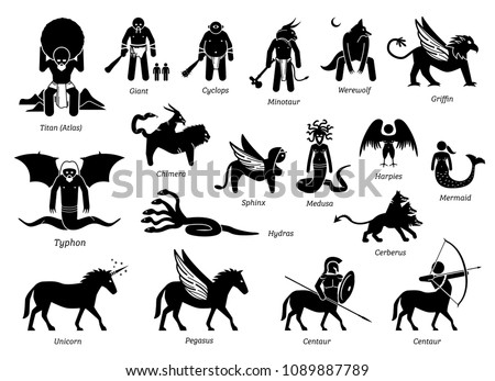 Stock Photo Ancient Greek Mythology Monsters and Creatures Characters Icon Set