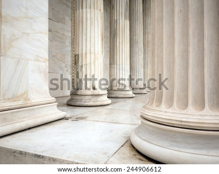 ancient greek pillars and columns in Athens Greece
