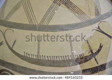Ancient greek pottery Trireme depicted