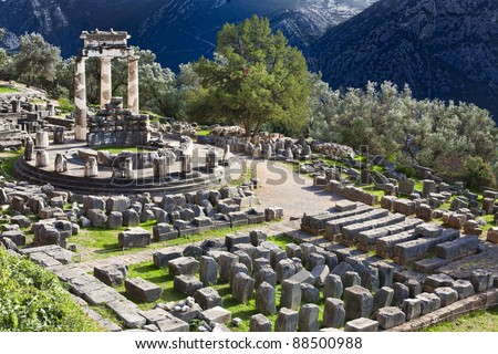 Ancient Greek ruins of temple of Athena on Mount Parnas in Delphi, Greece