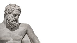 Ancient Greek statue of powerful Hercules, or Heracles, closeup, isolated at white background. Concept fitness, health and sport