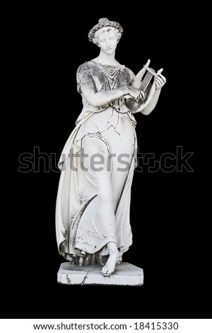 Ancient greek statue showing a mythical muse