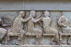 Ancient Greek Temple Frieze from Delphi in Greece