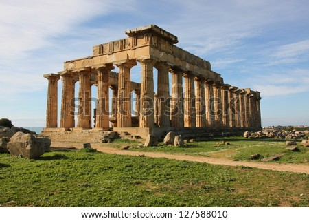 Ancient Greek temple in Selinunte in Sicily, Italy.