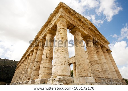 ancient Greek temple of Venus in Segesta village, Sicily, Italy