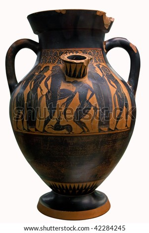 Ancient greek vase in black over red ceramic isolated on white with clipping path