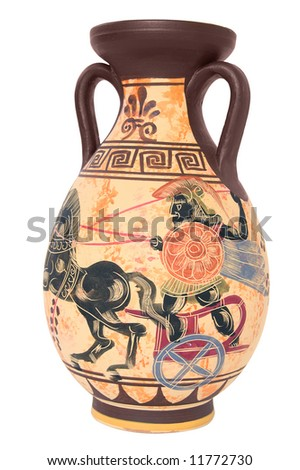 ancient greek vase isolated on white background