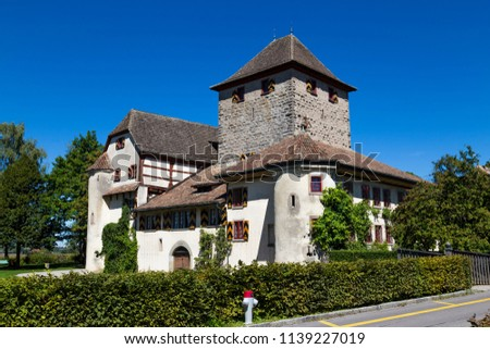 Ancient Hegi castle in the town Winterthur, Switzerland. General view, outside on a blue sky background in a summer day. Tourist attraction, tourist destination. #1139227019