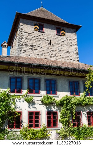 Ancient Hegi castle in the town Winterthur, Switzerland, outside on a blue sky background in a summer day. Tourist attraction, tourist destination. #1139227013