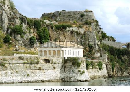 Ancient Hellenic temple, Corfu island in Greece