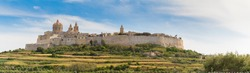 Ancient hilltop fortified capital city of Malta, The Silent City, Mdina or L-Imdina, skyline against blue Spring skies with huge walls, cathedral domes and towers, fields of spring flowers, April 2017