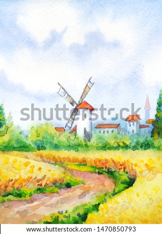 Ancient Holland Europe big old city scene picture sketch paper text space. Blue sunny day. Dirt path way in golden dry ripe ear garden grow bush. Bright  color antique Dutch town barn hut scenic view