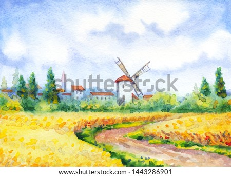 Ancient Holland Europe old city scene picture sketch text space. Blue sunny day. Dirt path way in golden dry ripe ear garden grow bush. Bright gold color antique Dutch town barn hut cloudy scenic view