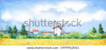 Ancient Holland Europe old city scene picture sketch text space. Blue sunny day. Golden dry ripe straw ear garden growth bush. Bright color antique Dutch town wooden barn hut cloudy spring scenic view