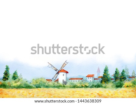 Ancient Holland Europe old city scene picture white paper text space. Blue sunny day. Golden dry ripe straw ear garden growth bush. Bright color antique Dutch town barn hut cloudy spring scenic view