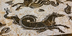 Ancient Horse Serpent Mosaic Ruins Italica Roman City Outside Seville Andalusia Spain. Built in 206BC first Roman settlement in Spain and outside of Italy.