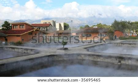 Ancient hot spring baths in Peru