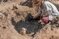 Ancient human skeleton. Archaeological excavations. Ancient history