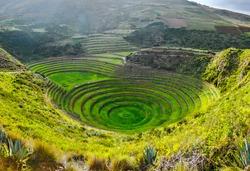 Ancient Inca circular terraces at Moray (agricultural experiment station), Peru