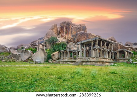 ancient indian city ruins during amazing vivid sunset.