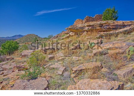 Ancient Indian Ruins on top of Sullivan Butte in Chino Valley AZ. Local residents do not know how old the ruins are, only that they predate the founding of the town. They could be Sinagua or Yavapai.