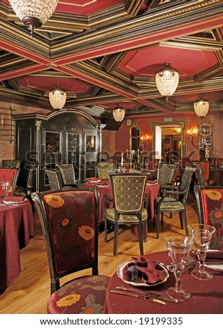 Ancient interior of restaurant