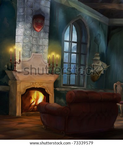ancient interior with a fireplace and candles