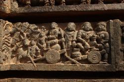 Ancient intricate stone carvings designes on somnathpura temple