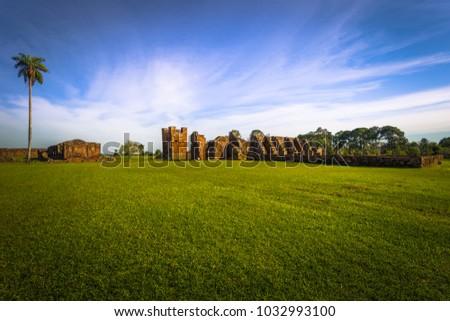 Ancient Jesuit ruins of the Mission of La Santissima Trinidad, Paraguay