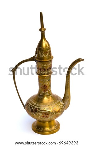 Ancient jug on white background. - stock photo