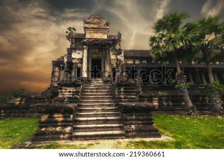 Ancient Khmer architecture. Amazing view of Angkor Thom temple at sunset. Angkor Wat complex, Siem Reap, Cambodia travel destinations