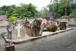 Ancient kingdom Batak tomb on the Samosir island, Toba lake, Indonesia, North Sumatra