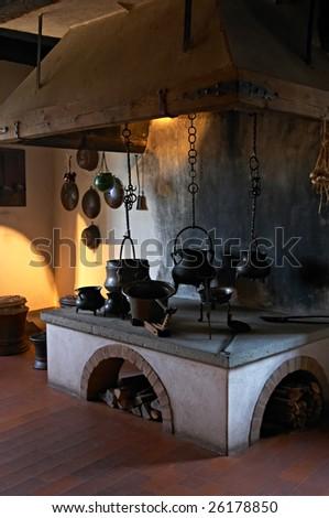 Ancient kitchen in a 13th century Kyburg castle (Switzerland)
