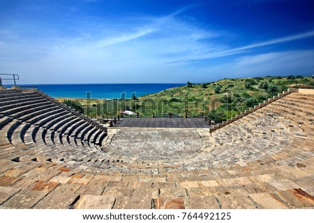 ANCIENT KOURION, CYPRUS- April 12, 2017. The Roman theater at Ancient Kourion, district of Lemessos (Limassol).
