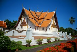 Ancient lanna temple Wat Phu Mintr or Phumin Temple in Nan Province, Thailand. This temple is public place and famous landmark tourist attraction in Thailand.