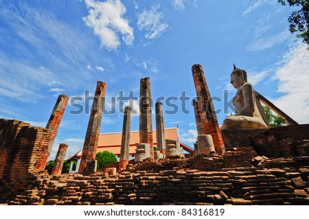 Ancient large Buddha at the temple, Sankhaburi, Chainat, Thailand