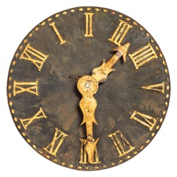 Ancient large church clock face isolated on a white background
