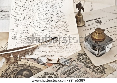 ancient letters  and  old inkwell