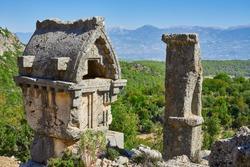 Ancient Lycian Pillar Tomb in Pinara, Fethiye, Turkey