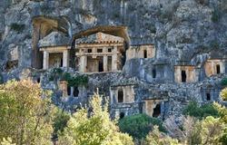 Ancient Lycian rock tomb in Pinara, Fethiye, Turkey