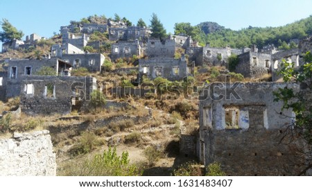 Ancient Lycian village Kayakoy in Fethiye, Mugla, Turkey. Called Ghost Town Kayakoy, anciently known as Lebessos and Lebessis. Abondoned Greek and Turkish City.  Stok fotoğraf ©